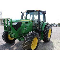 2013 JOHN DEERE 6125M Farm Tractor; VIN/SN:759494 -:- MFWD, 3 remotes, cab, A/C, 18.4R34 rear tires,