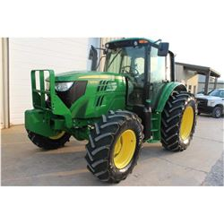 2013 JOHN DEERE 6125M Farm Tractor; VIN/SN:757848 -:- MFWD, 3 remotes, cab, A/C, 18.4R34 tires, 14.9