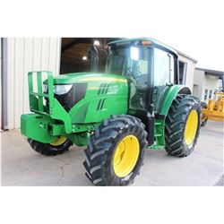 2013 JOHN DEERE 6125M Farm Tractor; VIN/SN:757238 -:- MFWD, 3 remotes, cab, A/C, 18.4-34 rear tires,