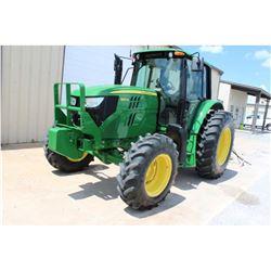 2013 JOHN DEERE 6125M Farm Tractor; VIN/SN:757384 -:- MFWD, 3 remotes, cab, A/C, 18.4R34 rear tires,