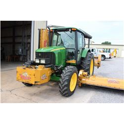 2008 JOHN DEERE 6415 Farm Tractor; VIN/SN:544177 -:- MFWD, 2 remotes, cab, A/C, Tiger flail mower sy