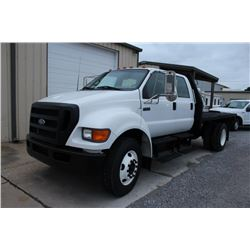 2006 FORD F750 Flatbed Dump Truck; VIN/SN:3FRNW75ZX6V304850 -:- crew cab, Int. diesel, A/T, 25,999#