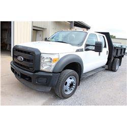 2013 FORD F450 Flatbed Truck; VIN/SN:1FD0W4GY9DEA42379 -:- crew cab, V10 gas, A/T, AC, 9' flatbed bo