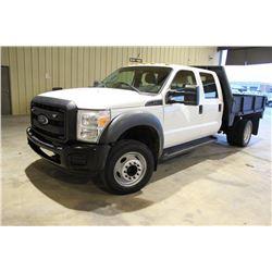 2012 FORD F450 Flatbed Truck; VIN/SN:1FD0W4GY1CEC70391 -:- crew cab, V10 gas, A/T, AC, 9' flatbed bo