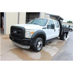 2011 FORD F450 Flatbed Truck; VIN/SN:1FD0W4GY9BEA63780 -:- crew cab, V10 gas, A/T, AC, 9' flatbed bo