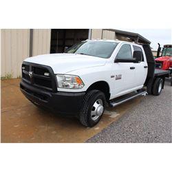 2014 DODGE 3500 Flatbed Truck; VIN/SN:3C7WRSCJXEG242817 -:- crew cab, V8 gas, A/T, AC, 9' steel flat