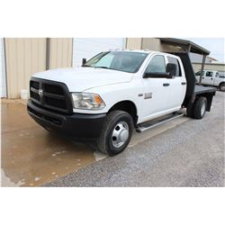 2013 DODGE 3500 Flatbed Truck; VIN/SN:3C7WRSCT0DG565158 -:- crew cab, V8 gas, A/T, AC, 9' flatbed bo