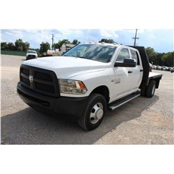2013 DODGE 3500 Flatbed Truck; VIN/SN:3C7WRSCT9DG565157 -:- crew cab, V8 gas, A/T, AC, 9' flatbed bo