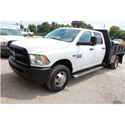2013 DODGE 3500 Flatbed Truck; VIN/SN:3C7WRSCTXDG565152 -:- crew cab, V8 gas, A/T, AC, 9' flatbed bo