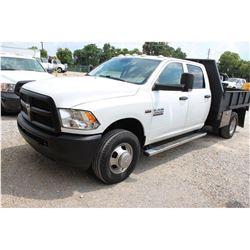 2013 DODGE 3500 Flatbed Truck; VIN/SN:3C7WRSCTXDG565152 -:- crew cab, V8 gas, A/T, AC, 9' flatbed bo