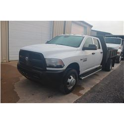 2013 DODGE 3500 Flatbed Truck; VIN/SN:3C7WRSCT6DG524209 -:- crew cab, V8 gas, A/T, A/C, AC, 9' flatb