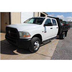 2012 DODGE 3500 Flatbed Truck; VIN/SN:3C7WDSCT4CG166525 -:- crew cab, V8 gas, A/T, AC, 9' flatbed bo