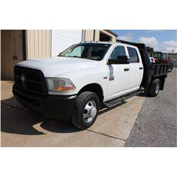 2012 DODGE 3500 Flatbed Truck; VIN/SN:3C7WDSCT4CG166525 -:- crew cab, V8 gas, A/T, AC, 9' flatbed bo