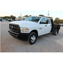 2012 DODGE 3500 Flatbed Truck; VIN/SN:3C7WDSCT2CG245613 -:- crew cab, V8 gas, A/T, AC, 9' flatbed bo