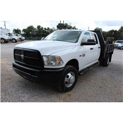 2012 DODGE 3500 Flatbed Truck; VIN/SN:3C7WDSCT4CG245614 -:- crew cab, V8 gas, A/T, AC, 9' flatbed bo