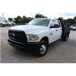 2012 DODGE 3500 Flatbed Truck; VIN/SN:3C7WDSCT4CG245614 -:- crew cab, V8 gas, A/T, AC, 9' flatbed bo