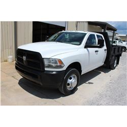 2012 DODGE 3500 Flatbed Truck; VIN/SN:3C7WDSCTXCG232141 -:- crew cab, V8 gas, A/T, AC, 9' steel flat