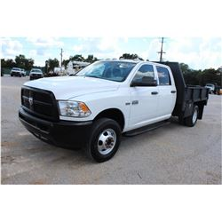 2012 DODGE 3500 Flatbed Truck; VIN/SN:3C7WDSCT2CG232148 -:- crew cab, V8 gas, A/T, AC, 9' steel flat
