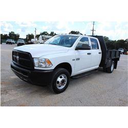 2012 DODGE 3500 Flatbed Truck; VIN/SN:3C7WDSCT2CG232148 -:- crew cab, V8 gas, A/T, AC, 9' steel flat