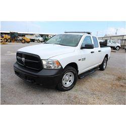 2015 DODGE 1500 Pickup Truck; VIN/SN:1C6RR7FT5FS757763 -:- 4x4, ext. cab, V8 gas, A/T, AC, 56,980 mi