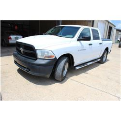 2012 DODGE 1500 Pickup Truck; VIN/SN:1C6RD7KPXCS231549 -:- 4x4, crew cab, V8 gas, A/T, AC, bed cover