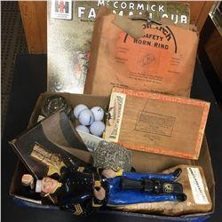 Tray Lot - Man Cave Grouping : McCormick Farmall Cub Sign, Bourbon Decanter (no Lid), Duck Call, Bel