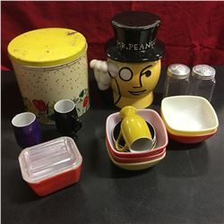 Tray Lot: Mr Peanut Cook, Canister Set, Pyrex Bowls, S&P, etc