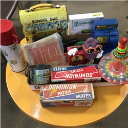 Tray Lot: Vintage Toys (Lunch Box, Thermos, Spinning Top, Slot Machine Piggy Bank, Vintage Bob Skate