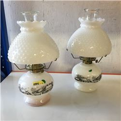 Coal Oil Lamps (2) Milk Glass Shades