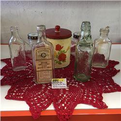"""Marble Stopper Bottle """"Palatine Mineral Water & Bottling Co. Ltd.""""; Watkins Vanilla Extract Bottle,"""