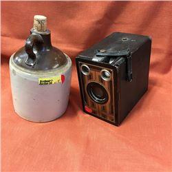 Small Crock Jug & Brownie Jr. Camera