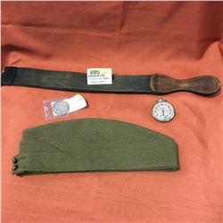 Military Uniform Hat, War Medal, Strop & Pocket Watch