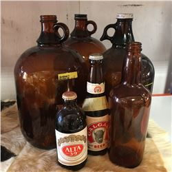 Brown Jug Grouping (6) (Incl. Calgary Beer Bottle Full & Alta 39 Full)