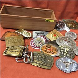 Wooden Box w/Belt Buckle Collection (18) (See Picture)