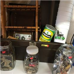 Tool Box Lot w/Contents (Spoon Collection, Arctic Cat Cups, 3 Jars of Nick Knacks, Wallets, Spoons,