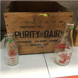 """Purity Dairy Wooden Crate & 2 Milk Bottles (""""NADP"""" & """"Dutchmen"""")"""
