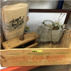 Large Cheese Box & Butter Press & 2 Milk Bottles & Pogs & Butter Wrappers