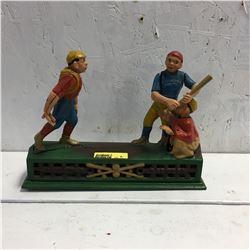 "Cast Iron Coin Bank ""Baseball"" (Reproduction)"
