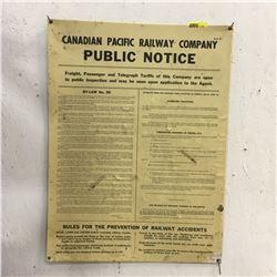 CPR Public Notice Poster 1953-54