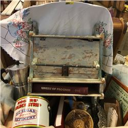 Tote Lot: Shabby Chic Towel Rack, Hotel Notice, Decanter, Tin, Community History Books, Cigarette Ro