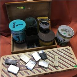 Wooden Box w/Smoker Collection (Tins, Lighters, Match Stick Holders, Cig Maker, etc)
