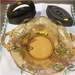 Sad & Depressed  . . . 2 Sad Irons & Depression Glass