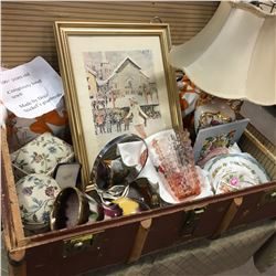 Suitcase w/Ladies Selection !! Lamp, Vases, Very Old Homemade Quilt, China, S&P, Olympic Figure Skat