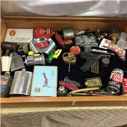 Counter Top Display Case w/Large Assortment of Small Collectibles (Incl: Gavel, Cig Tins, Lock & Key