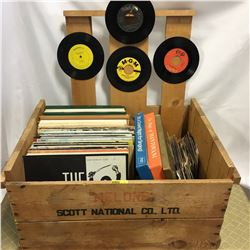Wooden Melons Crate w/Album Collection + 45's