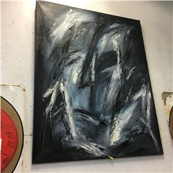 Large Oil Painting on Canvas 4' x 5' (Abstract Face) Artist Unknown - Origin is Europe