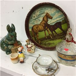 "Tray ""Meadow Queen"", Occupied Japan Ornament, Ceramic Rabbit, RCMP Cup/Saucer, Hunt's Coronation Por"