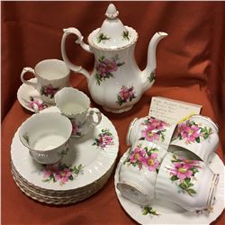 "Royal Albert Set ""Prairie Rose"" (Coffee Pot, 5 Mugs, 1 Cup/Saucer, 1 Creamer, 9 Plates 8"")"