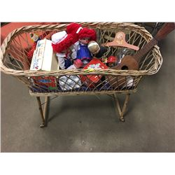 Wicker Doll Crib (Wheeled) w/Contents (Dolls, Lunch Box, Toy Guitar, Kitchen Set, Fisher Price Barn,