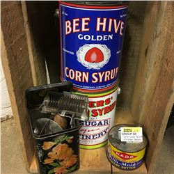 4 Confectioner Tins (Malkin's Best, N.A.D.P., Bee Hive, Rogers' Syrup) + Antique Kitchen Utensils